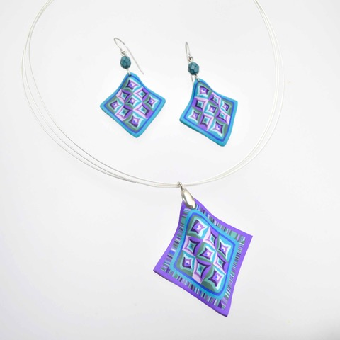 Mags Bonham - Log Cabin Quilt Block Necklace & Earrings