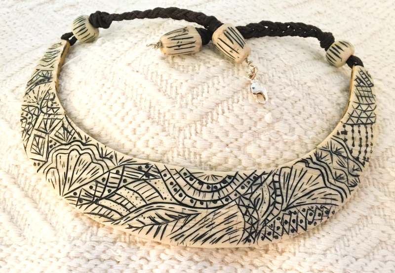 Hand Carved Faux Ivory Collar Necklace