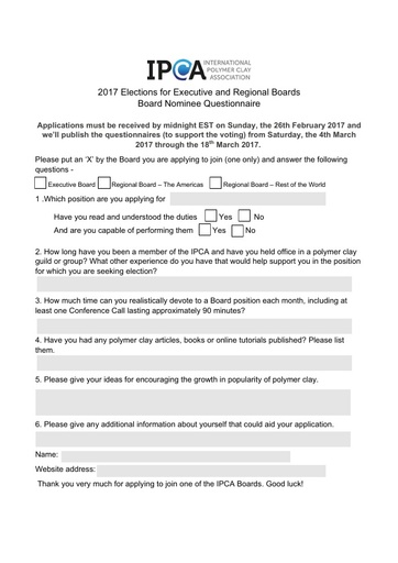 Board Nominee Questionnaire 2017 (Fill-in Form)