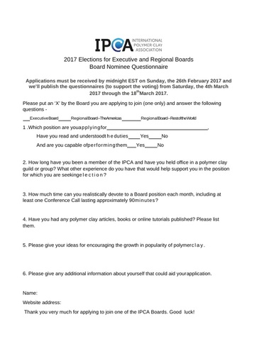 Board Nominee Questionnaire  FOR 2017  (DOCX)
