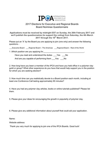 Board Nominee Questionnaire - 2017