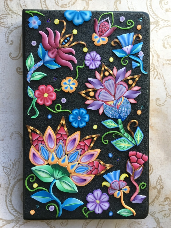 Anastasiya Kondel - Polymer clay veneer on a journal, 8inch L 5inches W